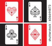 A Set Of Four Ornate Aces In...