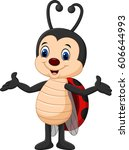 cartoon funny lady bug isolated ... | Shutterstock .eps vector #606644993