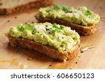 healthy breakfast toast with...   Shutterstock . vector #606650123