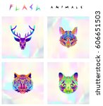 set of multicolored animal... | Shutterstock .eps vector #606651503