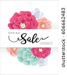 spring sale poster with...   Shutterstock .eps vector #606662483