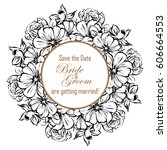 invitation with floral... | Shutterstock .eps vector #606664553