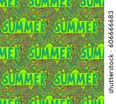 doodle summer  illustration.... | Shutterstock . vector #606666683