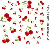 seamless pattern with cherry on ... | Shutterstock .eps vector #606667163