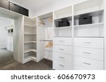 large walk in wardrobe... | Shutterstock . vector #606670973
