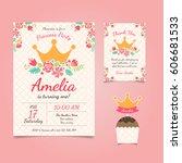 princess birthday invitation | Shutterstock .eps vector #606681533