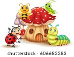 cartoon funny insects with... | Shutterstock . vector #606682283