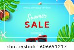 summer sale web banner. top... | Shutterstock .eps vector #606691217
