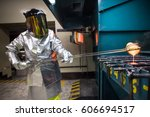 work on a gold mine laboratory. | Shutterstock . vector #606694517