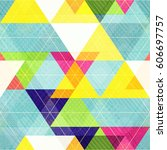 retro triangle seamless pattern ... | Shutterstock .eps vector #606697757