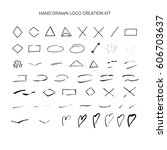 hand drawn ink logo creation... | Shutterstock .eps vector #606703637