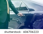 businessman opening limo car... | Shutterstock . vector #606706223