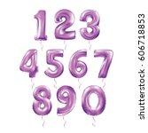 metallic purple letter balloons ... | Shutterstock .eps vector #606718853