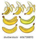 hand drawn bananas set ... | Shutterstock .eps vector #606738893
