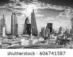 beautiful sky over london. | Shutterstock . vector #606741587