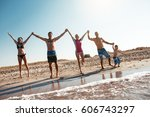 group of people having fun at... | Shutterstock . vector #606743297