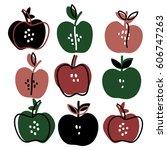 hand drawn apple set. sketch... | Shutterstock .eps vector #606747263