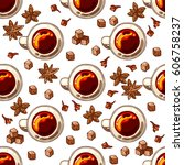 seamless pattern with sugar ... | Shutterstock .eps vector #606758237