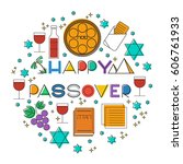 happy passover  jewish holiday .... | Shutterstock .eps vector #606761933
