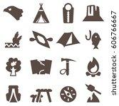camping icons set  trekking...