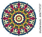 mandala. vector ethnic oriental ... | Shutterstock .eps vector #606774737