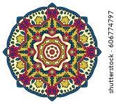 mandala. vector ethnic oriental ... | Shutterstock .eps vector #606774797