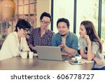 smart handsome asian... | Shutterstock . vector #606778727