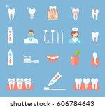 dental flat icons set. clinic... | Shutterstock .eps vector #606784643