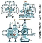 intricate metal machines with... | Shutterstock .eps vector #606788633