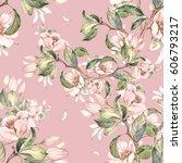 seamless pattern of flowering... | Shutterstock . vector #606793217