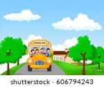 school kids riding a school bus ...   Shutterstock .eps vector #606794243