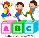 kids playing with alphabet...   Shutterstock .eps vector #606794267