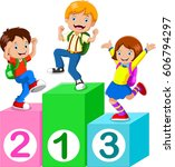 kids playing with number blocks | Shutterstock .eps vector #606794297