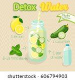 detox cocktail with cucumber ... | Shutterstock .eps vector #606794903