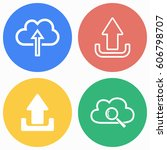 upload vector icons set.... | Shutterstock .eps vector #606798707