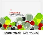 color glossy squares with round ... | Shutterstock .eps vector #606798923