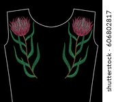 embroidery stitches with protea ... | Shutterstock .eps vector #606802817