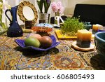haft seen traditional table of... | Shutterstock . vector #606805493