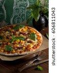 pizza with chicken  pumpkin ... | Shutterstock . vector #606811043