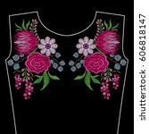 embroidery fashion neckline... | Shutterstock .eps vector #606818147