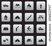 set of 16 editable travel icons.... | Shutterstock . vector #606822947