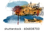 portugal. hand drawn watercolor ... | Shutterstock .eps vector #606838703