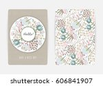 cover design with floral... | Shutterstock .eps vector #606841907