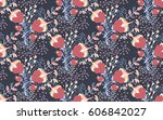 floral seamless pattern. hand... | Shutterstock .eps vector #606842027