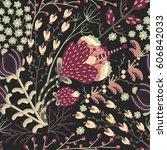 floral seamless pattern. hand... | Shutterstock .eps vector #606842033