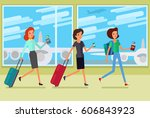 concept of travel. women hurry... | Shutterstock .eps vector #606843923