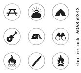set of 9 editable travel icons. ... | Shutterstock . vector #606850343