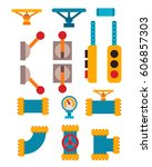 machine parts different... | Shutterstock .eps vector #606857303