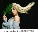 portrait of young blond woman... | Shutterstock . vector #606857837