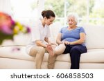 physiotherapist taking care of... | Shutterstock . vector #606858503